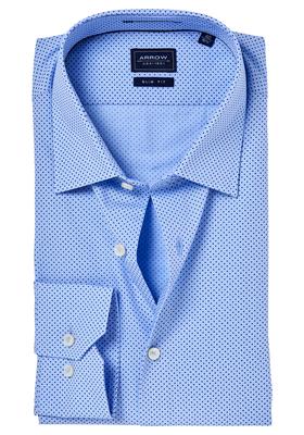 Arrow Slim Fit overhemd, lichtblauw gestipt