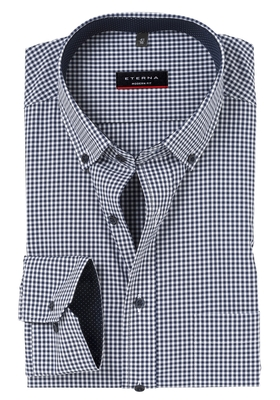 ETERNA Modern Fit overhemd, blauw geruit (button down)