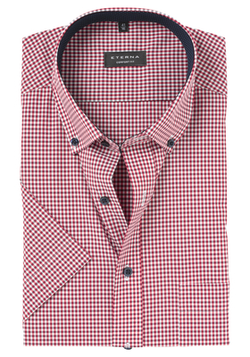 Eterna Modern Fit overhemd, korte mouw, rood geruit