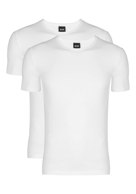 2-pack: Hugo Boss stretch T-shirts Slim Fit, O-hals, wit