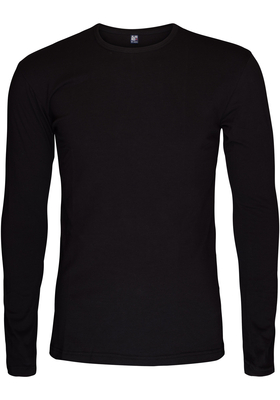 Alan Red stretch longsleeve T-shirt olbia, O-hals, zwart