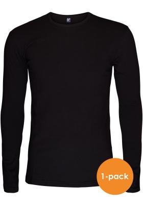 Alan Red stretch longsleeve T-shirt olbia, O-hals, zwart