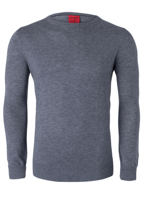 OLYMP Level 5, heren trui wol, zilver grijs (Slim Fit)