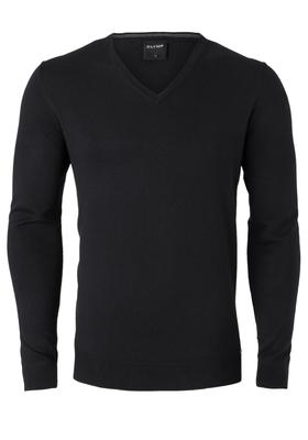 OLYMP heren trui Modern Fit, kasjmier/katoen/zijde, zwart