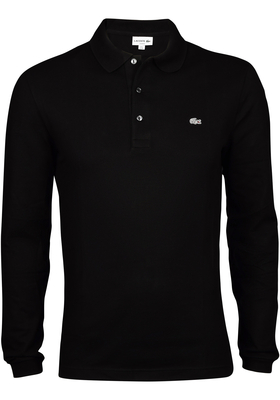 Lacoste Sport polo lange mouw, zwart, Slim Fit