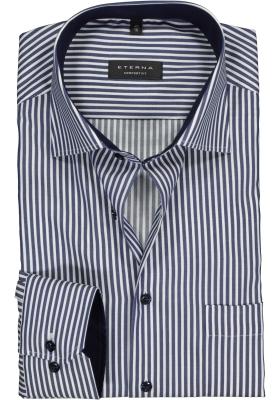 ETERNA comfort fit overhemd, twill heren overhemd, blauw met wit gestreept (contrast)
