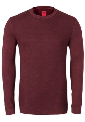 OLYMP Level 5, heren trui wol, O-hals roest bruin (Slim Fit)