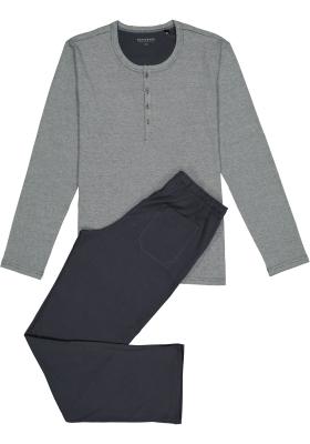 SCHIESSER heren pyjama, O-hals met knoopjes, grijs