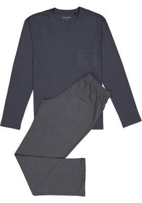 Schiesser heren pyjama, grijs met dessin broek
