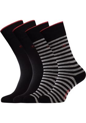 Calvin Klein, Harrison herensokken (2-pack), zwart gestreept en uni