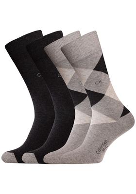 Calvin Klein, Wyatt herensokken (2-pack), grijs geruit en uni