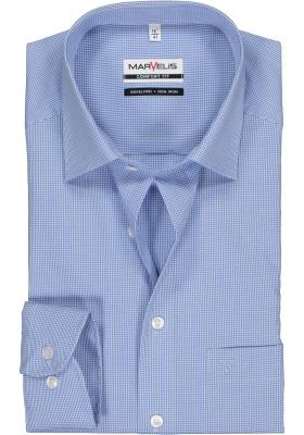 MARVELIS comfort fit overhemd, blauw met wit geruit