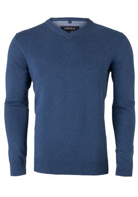 MARVELIS heren trui katoen, V-hals, jeans blauw gemêleerd