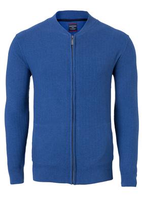 Casa Moda heren vest katoen, midden blauw (met rits)