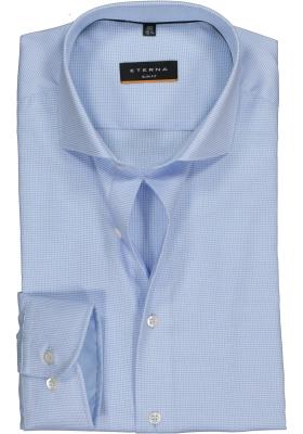 Eterna Slim Fit overhemd, licht blauw structuur (contrast)