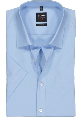 OLYMP Level 5 body fit overhemd, korte mouwen, lichtblauw