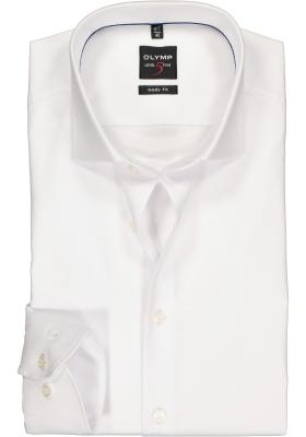 OLYMP Level 5 body fit overhemd, wit diamant twill