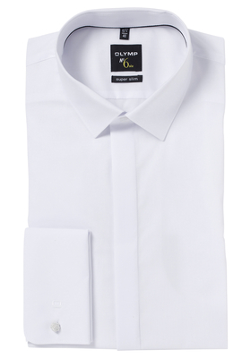 OLYMP No. 6 Six, Super Slim Fit overhemd, wit dubbele manchet