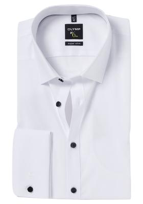 OLYMP No. 6 Six, Super Slim Fit, wit dubbele manchet, zwarte knoopjes