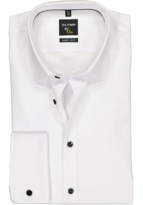 OLYMP No. Six super slim fit overhemd, dubbele manchet, wit met zwarte knoopjes