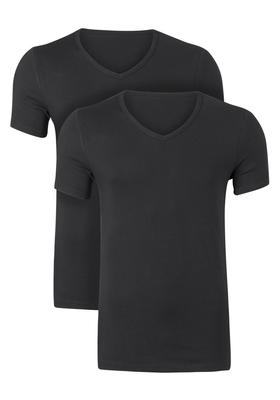 Ten Cate Basic heren T-shirts V-hals, 2-pack, zwart
