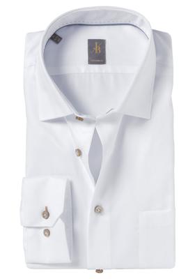 Jacques Britt overhemd, Como, Custom Fit, wit Herringbone