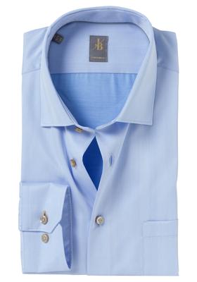 Jacques Britt overhemd, Como, Custom Fit, lichtblauw Herringbone