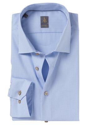 Jacques Britt overhemd, Como, Custom Fit, lichtblauw structuur