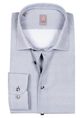 Jacques Britt overhemd, Como, Custom Fit, blauw-wit print