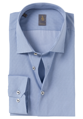 Jacques Britt overhemd, Como, Custom Fit, blauw print