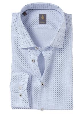 Jacques Britt overhemd, Como, Custom Fit, wit-blauw structuur print