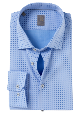 Jacques Britt overhemd, Como, Custom Fit, lichtblauw structuur print