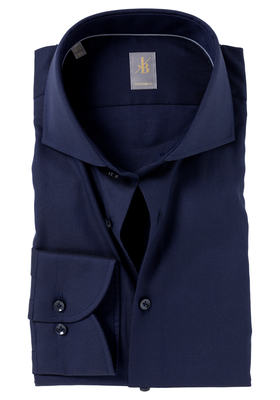 Jacques Britt overhemd, Roma custom fit, structuur, donkerblauw