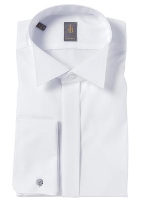 Jacques Britt overhemd, Venezia, Custom Fit smokinghemd, wit wing kraag
