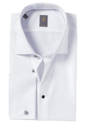 Jacques Britt overhemd, Milano, Custom Fit, dubbele manchet wit