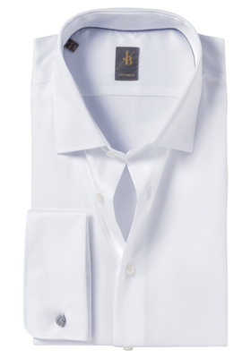 Jacques Britt overhemd, Como, Custom Fit, dubbele manchet wit satijnbinding