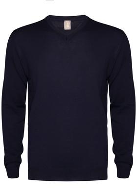 Jacques Britt heren trui wol, Slim Fit V-hals, marine blauw