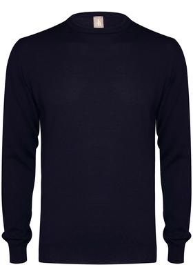 Jacques Britt heren trui wol Slim Fit, O-hals, marine blauw