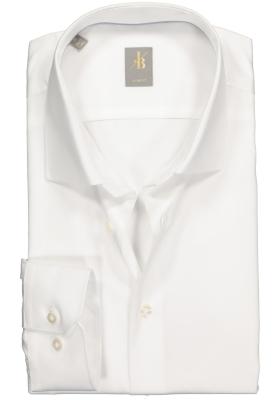 Jacques Britt overhemd, Como slim fit, satijnbinding, wit