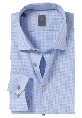 Jacques Britt overhemd, Como, Slim Fit, lichtblauw structuur