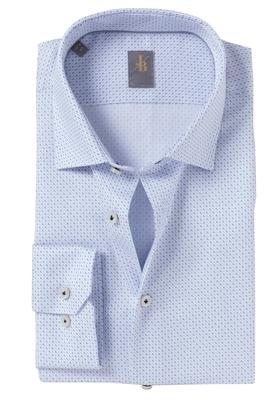 Jacques Britt overhemd, Como, Slim Fit, wit-blauw structuur print
