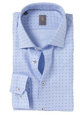 Jacques Britt overhemd, Como, Slim Fit, lichtblauw structuur print