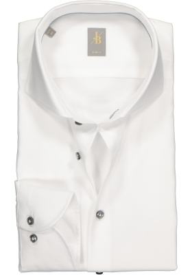Jacques Britt overhemd, Roma, Slim Fit, wit structuur