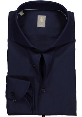 Jacques Britt overhemd, Roma, Slim Fit, donkerblauw structuur