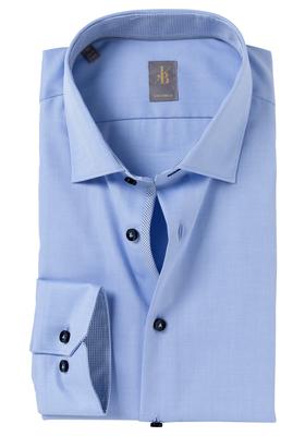 Jacques Britt overhemd mouwlengte 7, Como, Custom Fit, lichtblauw Twill (contrast)