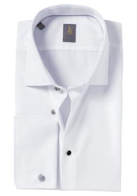 Jacques Britt overhemd, Milano, Slim Fit, wit dubbele manchet