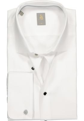Jacques Britt overhemd, Milano slim fit dubbele manchet, wit