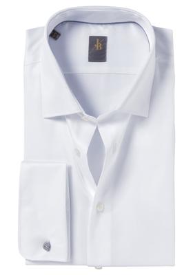Jacques Britt overhemd, Como, Slim Fit, wit dubbele manchet satijn