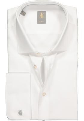 Jacques Britt overhemd, Como slim fit met dubbele manchet, satijnbinding, wit