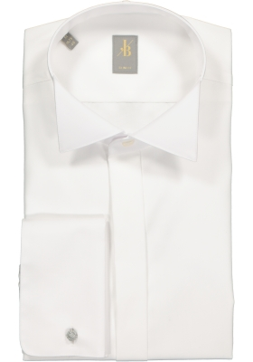 Jacques Britt overhemd, Venezia slim fit smokinghemd, wit